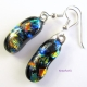 Fall Colors Dichroic Glass Dangling Earrings with Black, Gold, Green, Blue