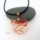 Handmade Fused Glass Heart Pendnt with Red Streamers