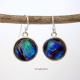 Sea Goddess Handmade Dichroic Fused Glass Jewelry Round Drop Earrings