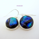 Brilliant Blue Dichroic Glass Dangle Earrings - Handmade Cabochons