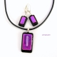 Handcrafted pink dichroic glass pendant and earrings set by Umeboshi
