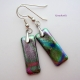 Dichroic Glass Earrings With Sterling Bails and Wirs