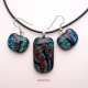 Handmade fused glass jewelry set in teal, red and black, very sparkly