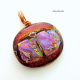 Copper Wire Wrapped One-of-a-kind Dichroic Glass Pendant