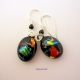 Umeboshi Jewelry Designs Colorful Dichroic Glass Dangle Earrings