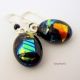 Totally Mine Handmade Dichroic Fused Glass Colorful Dangle Earrings