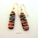 Handmade Abstract Black and Orange Fused Glass Dangle Earrings