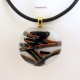 Handmade Dichroic Glass Necklace w Black Leather Cord
