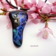 Fused Dichroic Glass Handmade Dark Blue and Violet Pendant with Cubic Zirconia ""