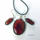 Sparkling Fire Handmade Dichroic Glass Cabochon Pendant and Earrings