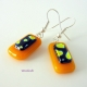 Little Hearts Handmade Fused Glass Dangling Earrings - Sterling Silver Ear