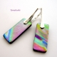 Glimmering Rainbows Handmade Dichroic Glass Dangle Earrings with Sterling Lever