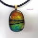 Dichroic Fused Glass Cabochon Pendant Necklace