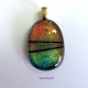 Handmade Dichroic Glass Pendant w Converging Lines