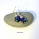Green and blue dichroic glass dangle earrings