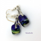 Handmade dichroic glass earrings w sterling silver pinch bail