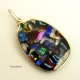 Dichroic glass wire wrapped pendant