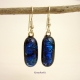 Blue Dichroic Fused Glass Earrings