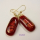 Handmade red dichroic drop earrings