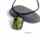 Sparking Patchwork Gold, Orange and Green Dichroic Glass Cabochon Pendant