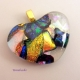 Multi-colored Dichroic Glass Heart Pendant by Umeboshi Jewelry Designs