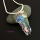Clear Dichroic Tack Fused Pendant and Necklace