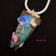Clear handmade dichroic fused glass pendant necklace