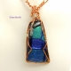 Blue Dichroic Glass Copper Wire Wrapped Necklace by Umeboshi
