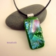 Rainbow Color Dichroic Fused Glass Jewelry w Black Cord