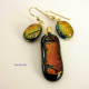 Amber Memories Dichroic Fused Glass Pendant and Earrings Jewelry Set One-of-a-Ki