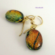 dichroic glass earrings in amber
