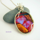 Handmade dichroic glass argentium sterling silver wire wrapped pendant
