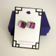 Handmade dichroic fused glass post earrings, pink and green