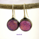 Moody Pink/Purple Dichroic Cabochon Handmade Dangle Earrings with Sterling Silve