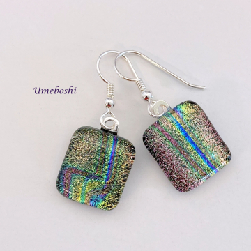 Rainbow Lightning Handmade Dichroic Fused Glass Dangle Earrings