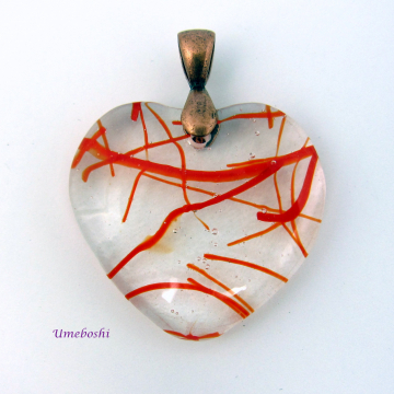 Fused Glass Handmade Heart Pendant with Red Streamers, Clear Glass, Copper Bail