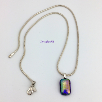 Irridescent Aubergine Handmade Dichroic Fused Glass Jewelry Pendant by UmeboshiD