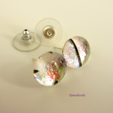Little Ice Drops Dichroic Fused Glass Post Stud Earrings by Umeboshi Jewelry Des
