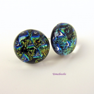 Blue Lightning Handmade Dichroic Fused Glass Post Stud Earrings Dichroic Glass J