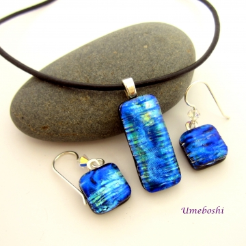 Iridescent Blue Fire Dichroic Glass Jewelry Set