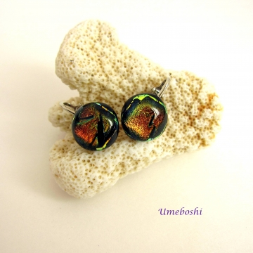 Gorgeous Dichroic Cabochon Clip Earrings