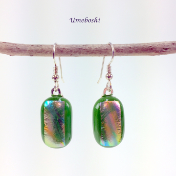 Kelly Green Rainbow Dichroic Fused Glass Dangle Earrings by Umeboshi Jewelry Des