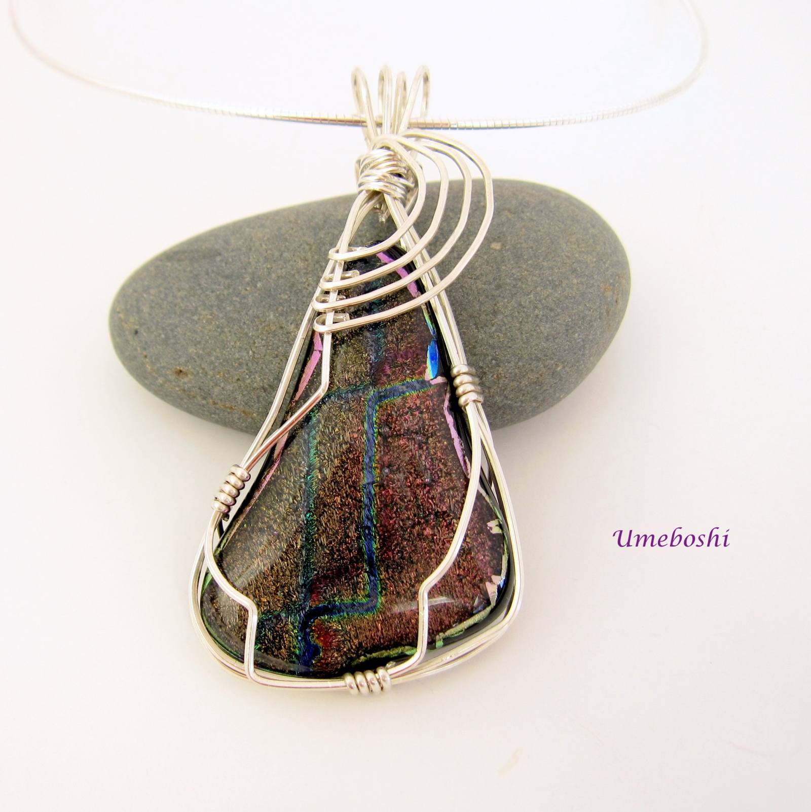 Pendant of a million stars dichroic glass silver wire wrapped handmade dichroic fused glass wire wrapped pendant aloadofball Choice Image