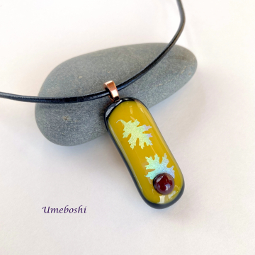 Autumn's Gift Handmade Fused Glass Jewelry Pendant with Oak Leaves