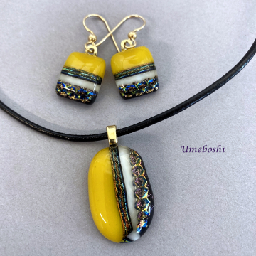 Sunny Day Handmade Dichroic Fused Glass Jewelry Set