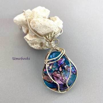 Argentium Sterling Silver Wire Wrapped - Splendid Treasure Dichroic Glass Cabochon Handmade Jewelry One-of-a-kind
