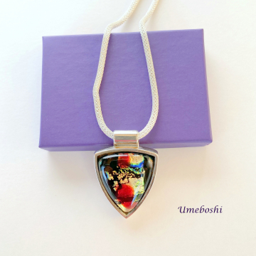 Bold Color Handmade Dichoic Fused Glass Shield Cabochon Jewelry Pendant with Silver Plated Setting