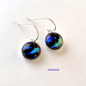 Thoughts of the Sea Handmade Dichroic Fused Glass Cabochon Dangle Earrings