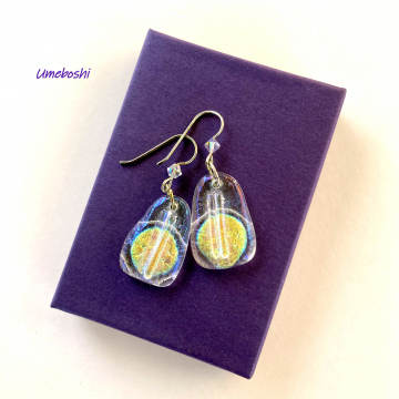 Icy Sunshine Handmade Dichroic Glass Dangle Earrings w Iridescent Sparkling Glass