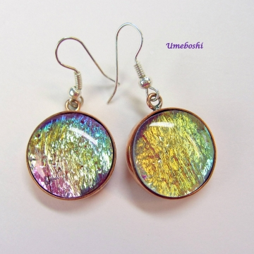 Shimmering Color Shifting Pastel Rainbow Dichroic Glass Dangle Earrings Copper Setting